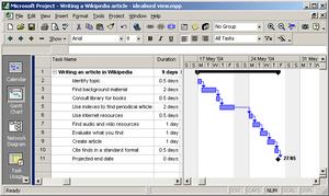 Microsoft Project 2000, showing a Gantt chart